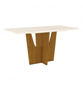 Mesa 6 Lugares Henn Vértice S203-127 1600mm Nature/Off White - Bege Claro